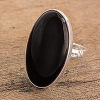 Jade cocktail ring, 'Black Tonalities'