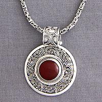 Carnelian necklace, 'Luxury'
