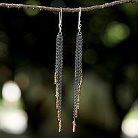 Tourmaline waterfall earrings, 'On the Fringe' - Yellow Tourmaline Waterfall Earrings with Silver Chains