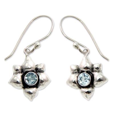 Blue Topaz and Silver Dangle Earrings
