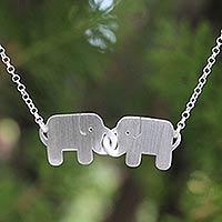 Sterling silver pendant necklace, 'Elephant Friendship'