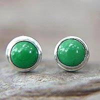 Sterling silver stud earrings, 'Green Moons' - Silver and Reconstituted Turquoise Stud Earrings
