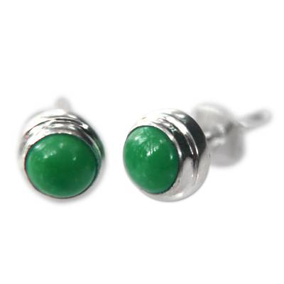 Silver and Reconstituted Turquoise Stud Earrings