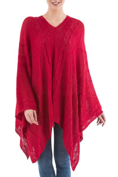 Asymmetrical Red Poncho from Peru