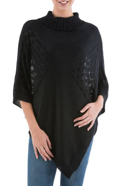 Black Poncho with Turtleneck from Peru