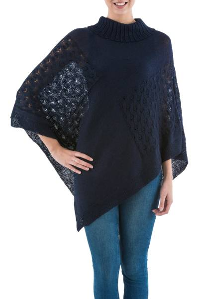 Navy Blue Poncho with Turtleneck from Peru