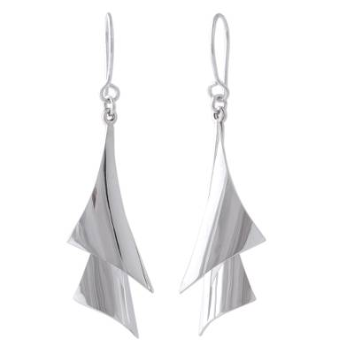 Silver dangle earrings, 'Freedom of Movement' - High-Polish 950 Silver Dangle Earrings from Mexico