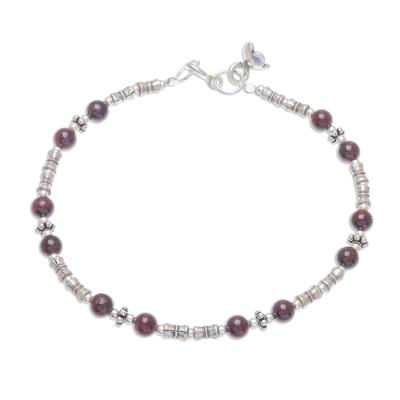 Garnet beaded bracelet, 'Antique Hill Tribe' - Hill Tribe Garnet Beaded Bracelet from Thailand