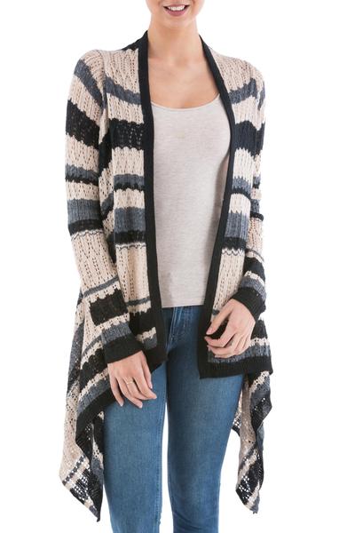 Cardigan sweater, 'Nighttime Mirage' - Striped Beige Cardigan Sweater from Peru