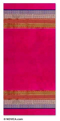 Silk wall hanging, 'Elegant Fuchsia' - Silk wall hanging