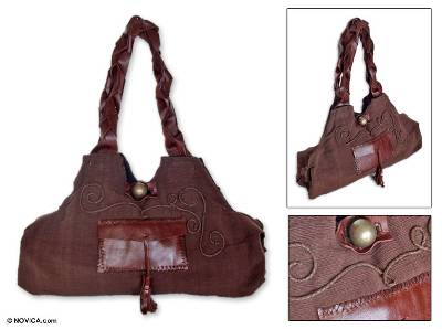 Leather and cotton handbag, 'Chocolate Brown' - Leather and cotton handbag