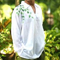 Men's cotton shirt, 'Wild in White' - Men's cotton shirt