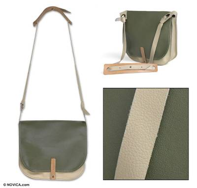 Leather shoulder bag, 'Ultra Green Chic' - Leather shoulder bag