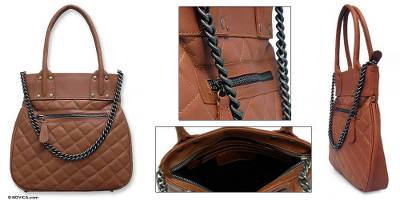 Leather handbag, 'Medieval Brown' - Leather handbag