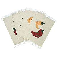 Wool placemats, 'Aji Peppers' (set of 4) - Wool placemats (Set of 4)