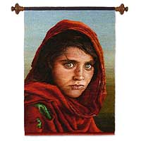 Wool tapestry, 'Sharbat Gula for National Geographic'