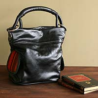 Leather handbag, 'Muky Guardian in Black' - Leather handbag