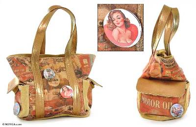 Cotton and leather handbag, 'Motor Era' - Cotton and leather handbag