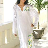 Cotton caftan, 'Frangipani' - Cotton caftan