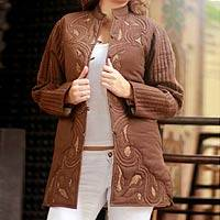 Cotton jacket, 'Chocolate Treat' - Cotton jacket