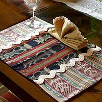 Cotton placemats and napkins, 'Tikal Treasure' (pair) - Cotton placemats and napkins (Pair)