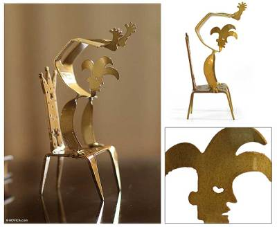 Aluminum sculpture, 'Golden Harlequin Handstand' - Aluminum sculpture