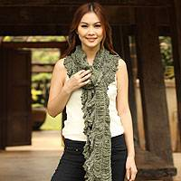 Cotton scarf, 'Wild Jade' - Cotton scarf