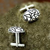 Sterling silver cufflinks, 'Puzzle' - Sterling silver cufflinks