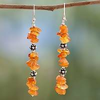 Carnelian dangle earrings, 'Fire Garland' - Carnelian dangle earrings