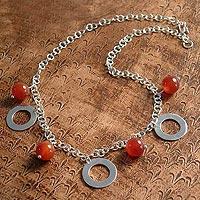Carnelian pendant necklace, 'Eloquent'
