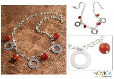 Carnelian pendant necklace, 'Eloquent' - Carnelian pendant necklace
