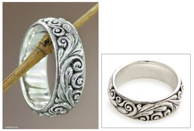Sterling silver band ring, 'Floral Moon' - Sterling silver band ring