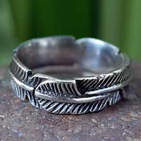 Sterling silver band ring, 'Banana Leaf' - Sterling silver band ring