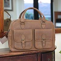 Leather travel bag, 'World Traveler' - Leather travel bag