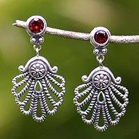 Garnet dangle earrings, 'Balinese Fan' - Garnet dangle earrings