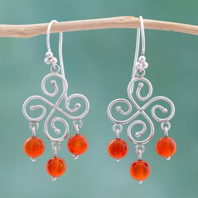 Carnelian chandelier earrings, 'Pinwheel' - Carnelian chandelier earrings