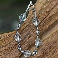 Quartz beaded bracelet, 'Regal Elegance' (7.2 inches) - Quartz beaded bracelet (7.2 Inches)