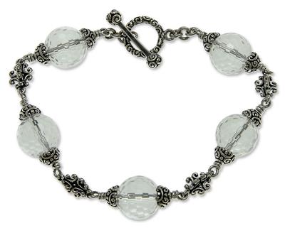 Quartz beaded bracelet, 'Regal Elegance' (8 inches) - Quartz beaded bracelet (8 Inches)