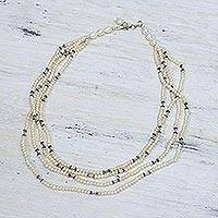 Pearl strand necklace, 'Cloudfall' - Pearl strand necklace