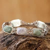 Jade link bracelet, 'Maya Meadow' (7.25 inch) - Jade link bracelet