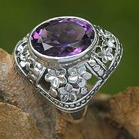 Amethyst flower ring, 'Silence' - Amethyst flower ring