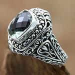 Prasiolite on Sterling Silver Ring Bali Artisan Jewelry, 'Sacred Waters'