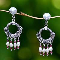 Pearl and garnet chandelier earrings, 'Harmony' - Pearl and garnet chandelier earrings