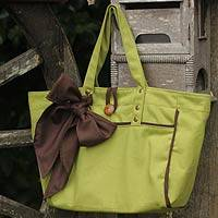 Cotton blend tote handbag, 'Chanthaburi Forest' - Cotton blend tote handbag