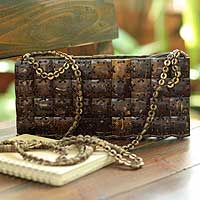 Coconut shell shoulder bag, 'Square Charms' - Women's Coconut Shell Shoulder Bag