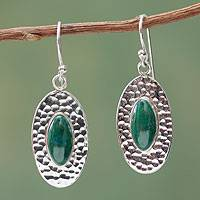 Chrysocolla dangle earrings, 'Unconditional' - Fair Trade Sterling Silver and Chrysocolla Earrings