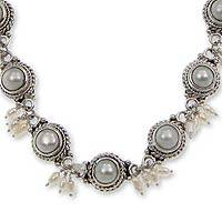 Cultured pearl link necklace, 'Moons and Shooting Stars' - Pearl and Sterling Silver Link Necklace