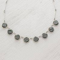 Jade link necklace, 'Square Circle' - Sterling Silver Jade Link Necklace