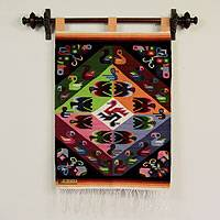 Wool tapestry, 'Butterflies with Parakeets' - Fair Trade Animal Themed Wool Tapestry