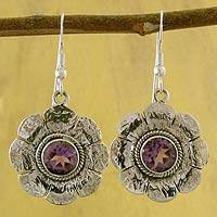Amethyst floral earrings, 'Precious Petals' - Amethyst floral earrings